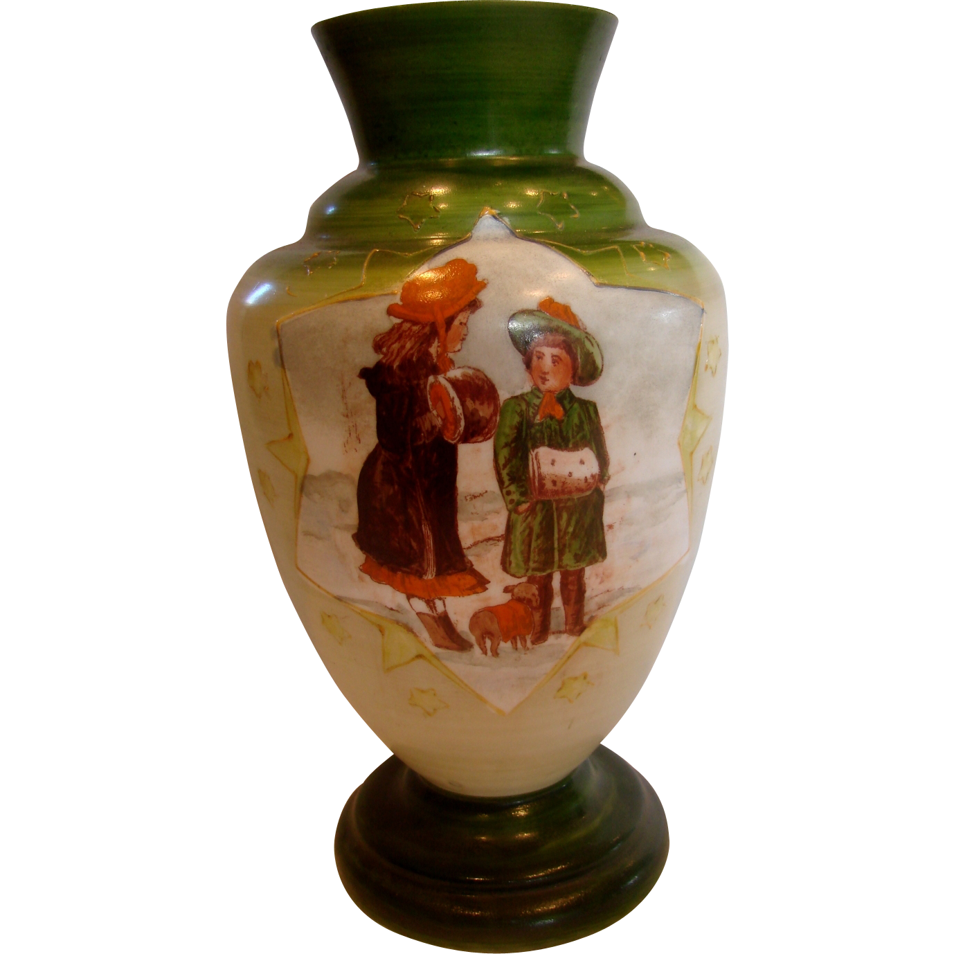 "French White Opaline Art Glass Vase 13"" Hand Painted Winter Scene Children w Small Brown Puppy Dog c 1860 - 1870"