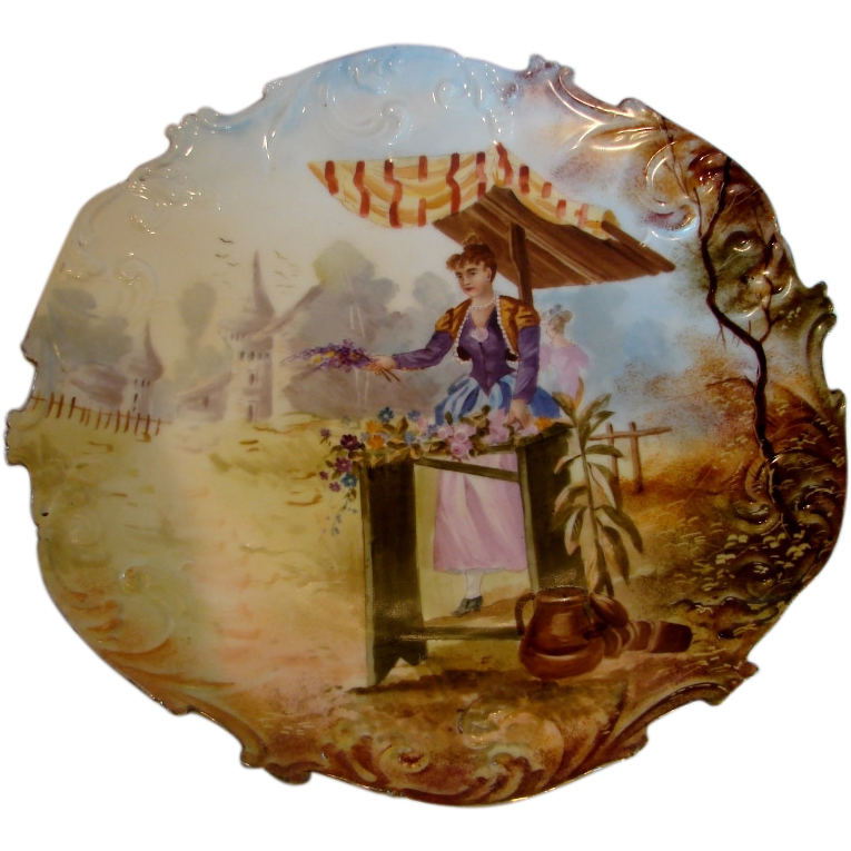 French Plaque Charger Hand Painted Scene of Lady Selling Flowers c 1880