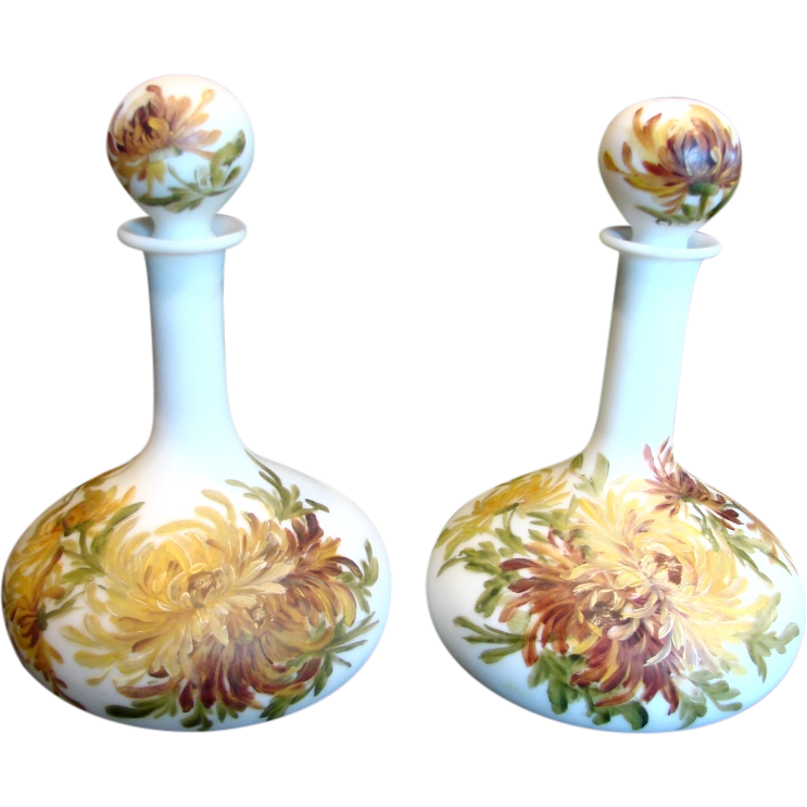 American Pair of Barber Bottles White Satin w Hand Painted Dahlia Flowers c 1880