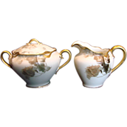 French Haviland Limoges Sugar & Creamer Set Feu de Four c 1903