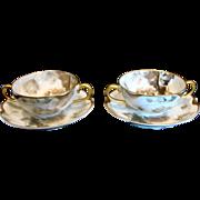 French Haviland Limoges Set Two Bouillon Cups & Saucers Feu de Four c 1903
