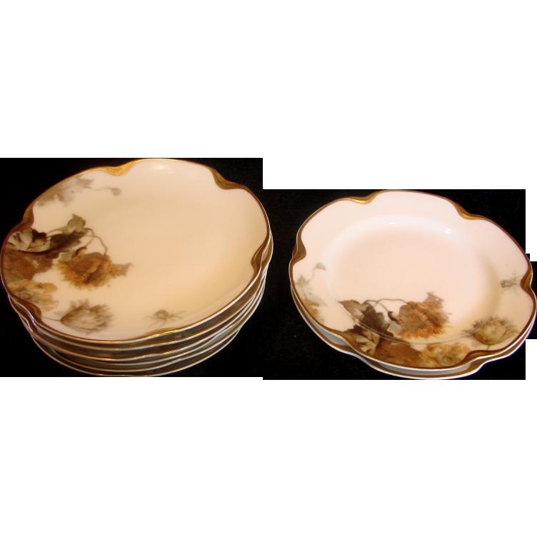 French Haviland Limoges Set 8 Bread & Butter Plates Feu de Four c 1903