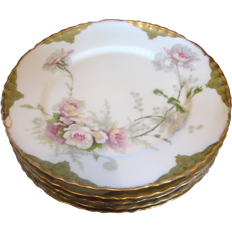 French Haviland Limoges Set 5 Dinner Plates w Large Pink & White Roses c 1903