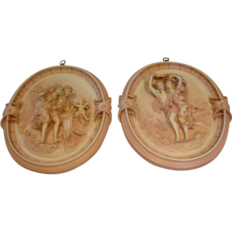 "French Porcelain Pair 14"" Oval Wall Plaques w Figural Groups Pink & Gold Exquisite c 1890 - 1900"
