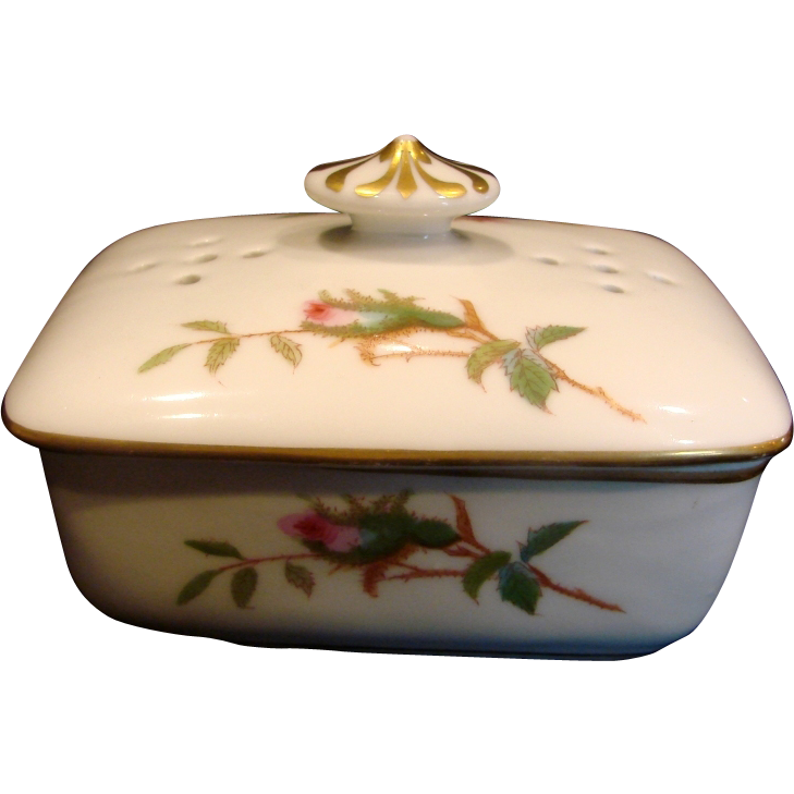 French Haviland Limoges Covered Soap Dish Moss Rose c 1865