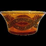 Bohemian Moser Signed Art Glass Jardinière Bowl Amber w Cameo Frieze c 1918 - 1922