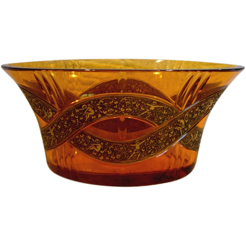 Bohemian Moser Signed Art Glass Jardinière Bowl Amber w Cameo Frieze c 1918 - 1922