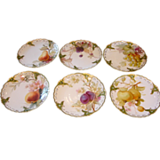 "German Nymphenburg Set of 6 Reticulated Exceptional Artist Painted Fruit Plates 8.25"" c 1895"