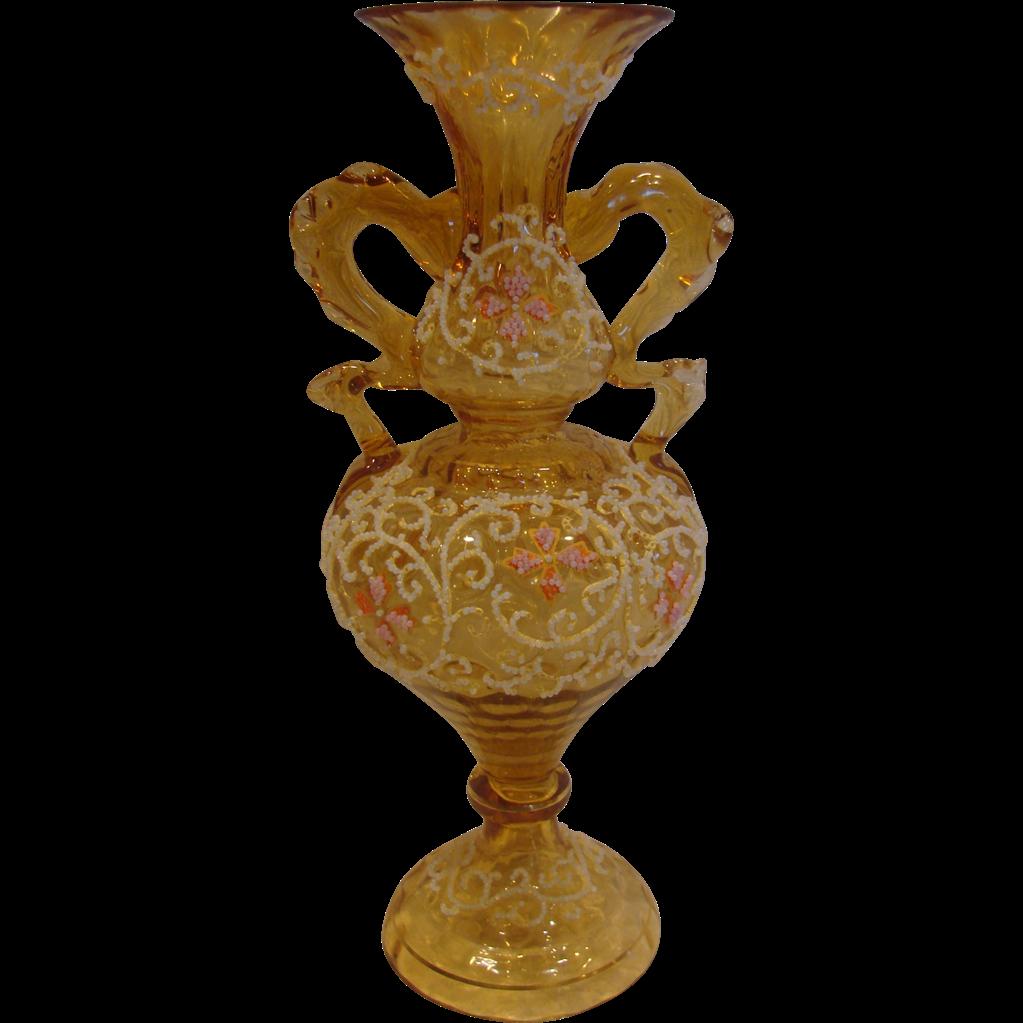 "Bohemian Moser Art Glass Vase Amber w Coralene Beads 9 7/8"" High  C 1880"