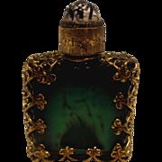 "Bohemian Czech Very Tiny Malachite Art Glass Scent Perfume Bottle (Cologne) w Metal Holder & Jeweled Stopper 2 ¼"" High c 1920"