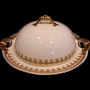 French Haviland Limoges 3-Piece Butter Dish w Insert Schleiger 575 Leaf Border Pattern c 1893 to 1930