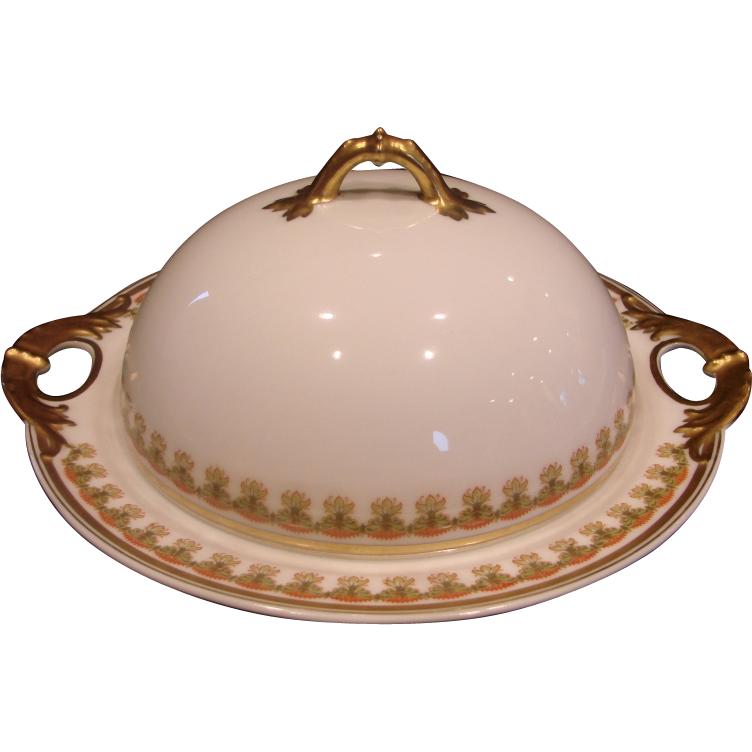 French Haviland Limoges 3-Piece Butter Dish w Insert Schleiger 575 Leaf Border Pattern c 1893 to 1930