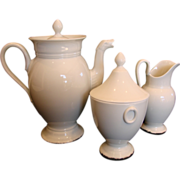 French Limoges Whiteware Tea or Coffee Set Pot Sugar Cream Pitcher c 1891 - 1900