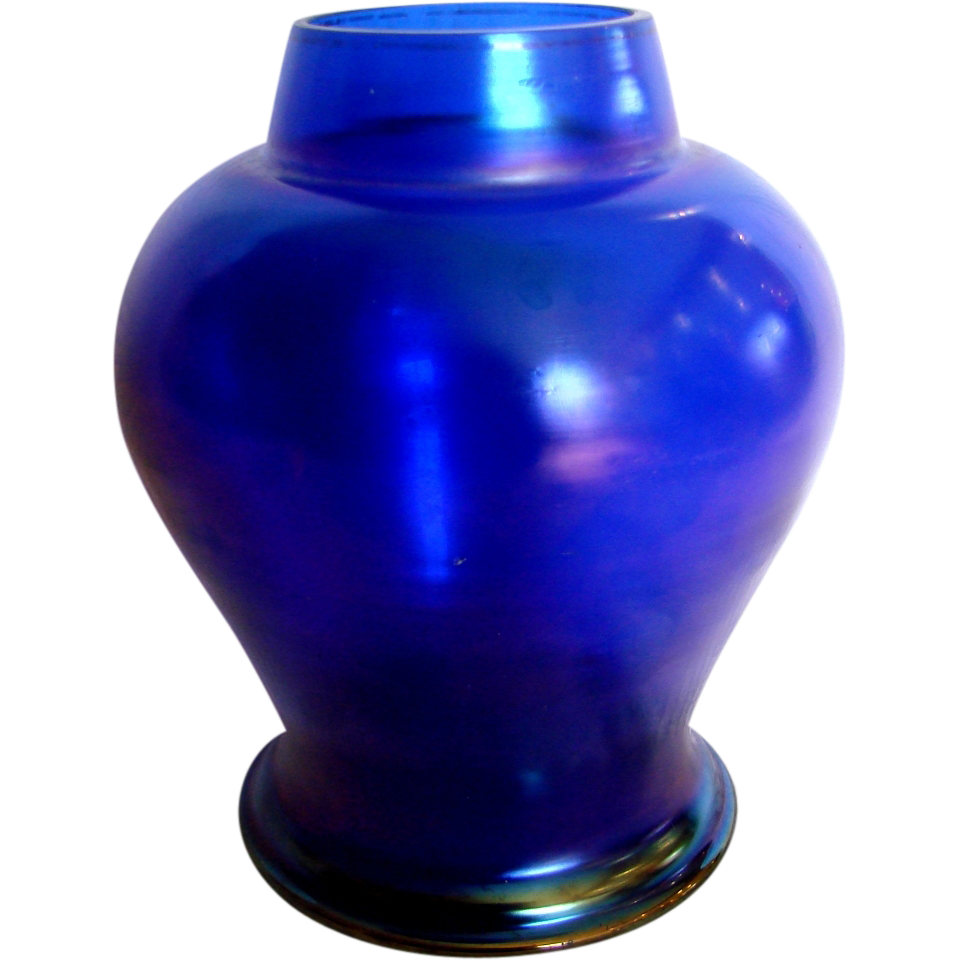 "Bohemian 6 ¾"" Blue Iridescent Art Glass Vase c 1900"