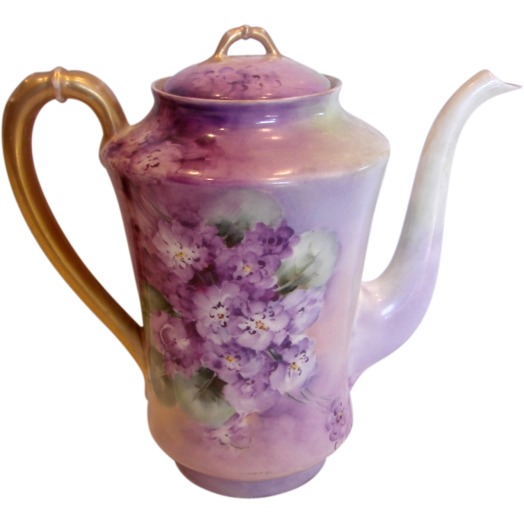 French Haviland Limoges Hand Painted Tea or Coffee Pot Violets c 1894 - 1930