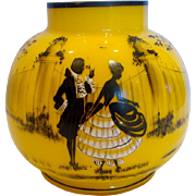 "Bohemian Czech Yellow Tango Art Glass Vase 5 ¾"" w Black Enameled Scenes c 1930s"