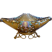 Bohemian Amber Art Glass Bowl on Metal Stand w Hand Enameling on Turned Rim c 1890