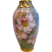 "English Staffordshire Small 5 7/8"" Pottery Vase Artist Signed Painted Flowers c 1900"