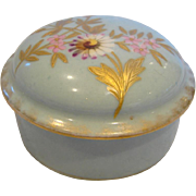 French Haviland Limoges Small Box Raised Enamel Daisies & Gold Foliage c 1891 - 1900