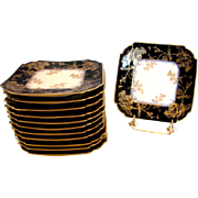 French Haviland Limoges Set 12 Cobalt Square Plates w Blackberry Gold Overlay c 1882 - 1890