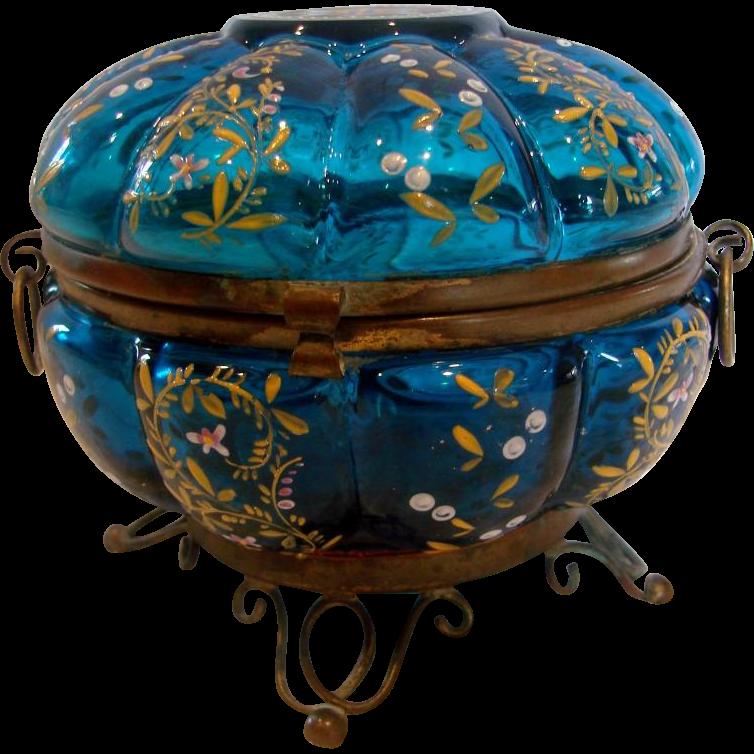 Bohemian Blue Art Glass Box on Metal Stand w Enamel c 1880