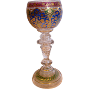 "Bohemian Czech Heckert Art Glass Wine Goblet 7 3/8"" Crystal Base w Blue/Green/Cranberry Cup c 1880 - 1900"
