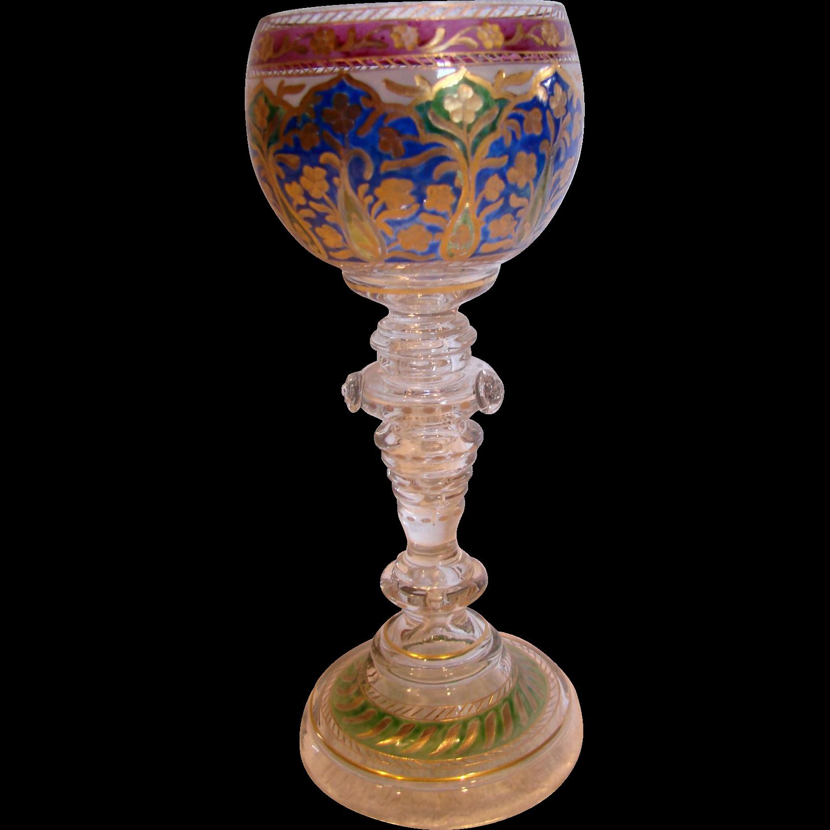 """Bohemian Czech Heckert Art Glass Wine Goblet 7 3/8"""" Crystal Base w Blue/Green/Cranberry Cup c 1880 - 1900"""