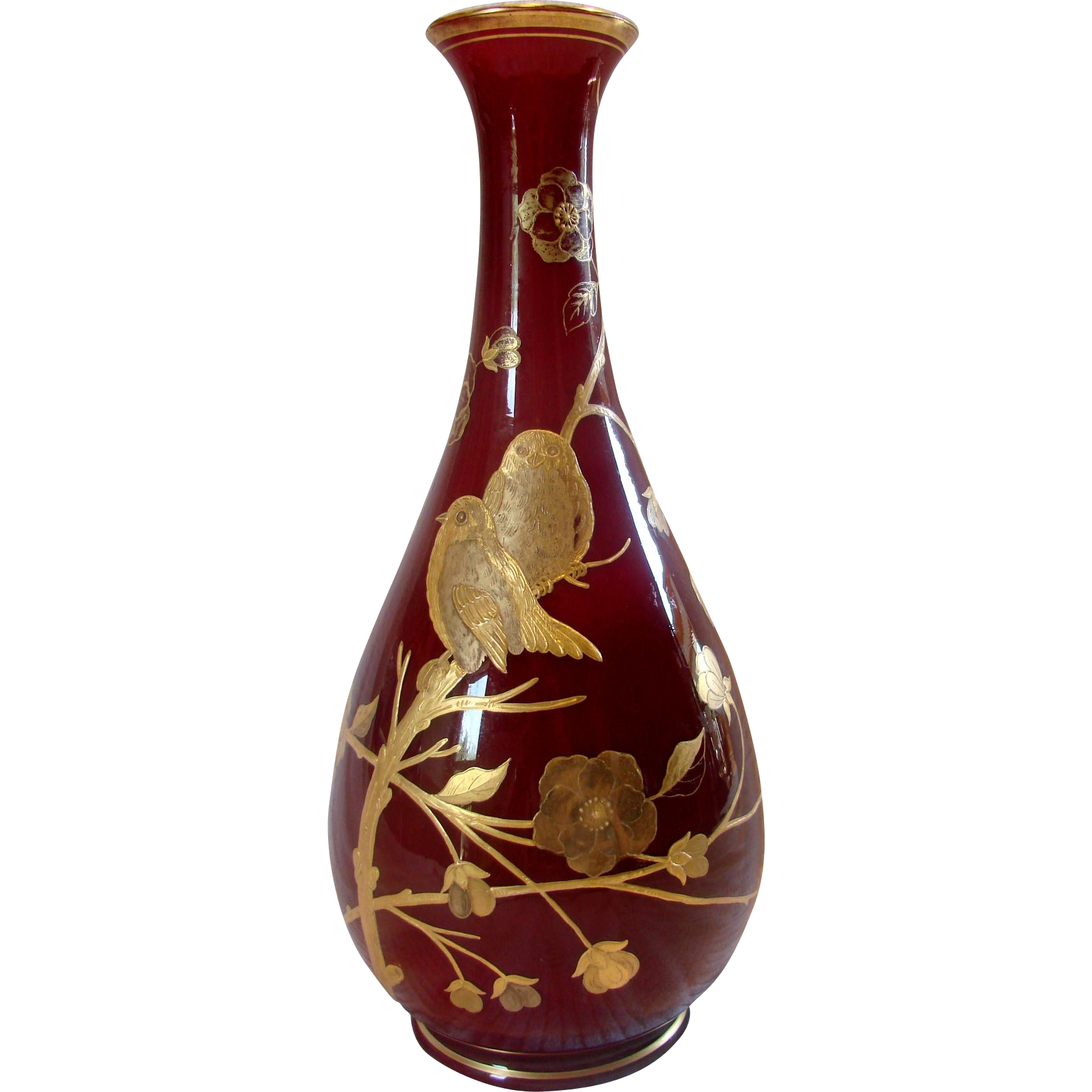 "English Webb Cased Dark Red Oxblood 13 ½"" Art Glass Vase w Gold Enameled Birds & Foliage c 1870"