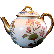 English Royal Worcester Hand Painted Teapot Flowers c 1889