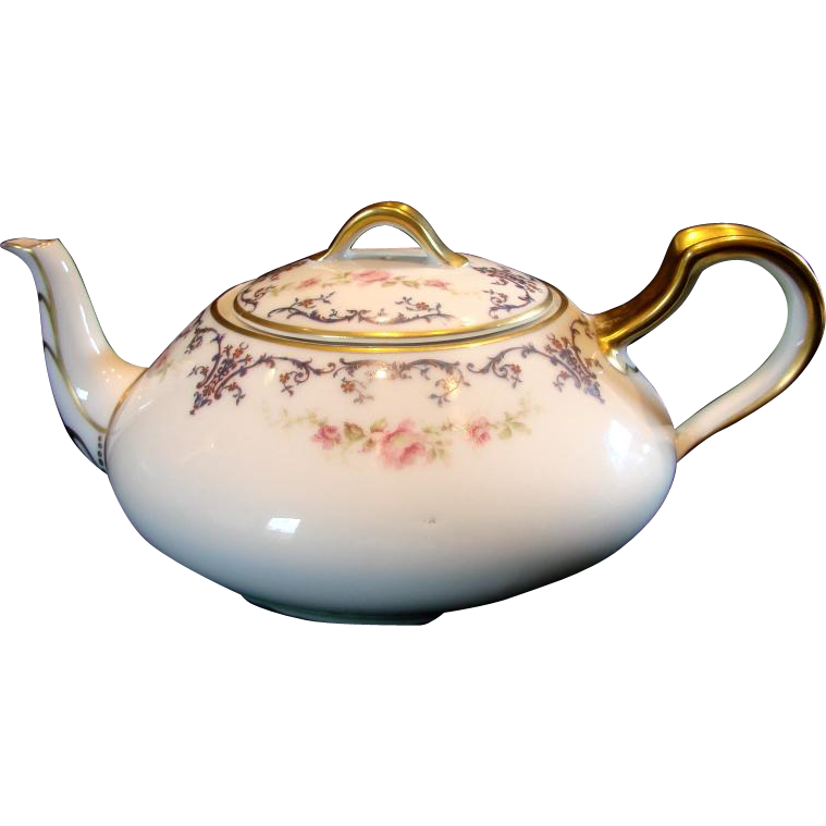French Haviland Limoges Teapot Border Pattern w Small Pink Roses c 1894 - 1931