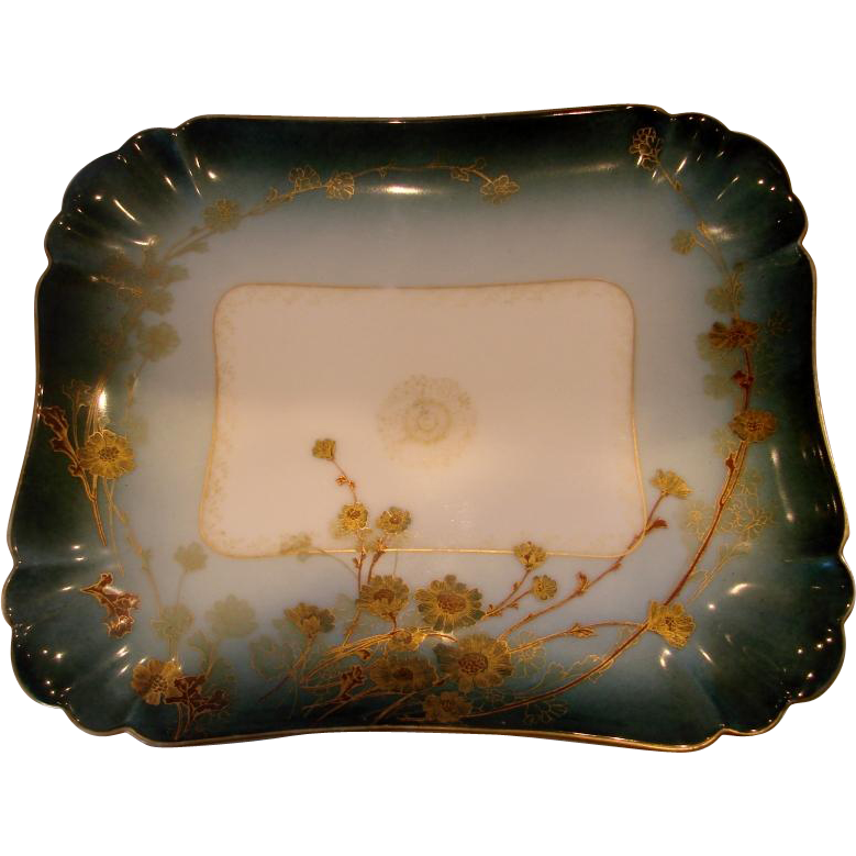 French Haviland Limoges Platter Turquoise w Dammouse Pattern c 1876 - 1889