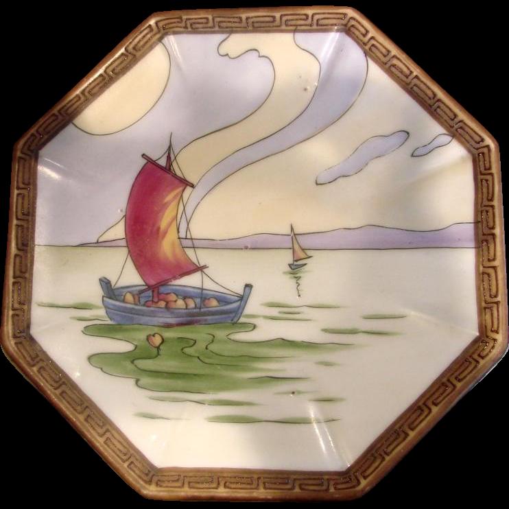 Japanese Nippon Tea Trivet Hand Painted Sailboat Scene c 1911