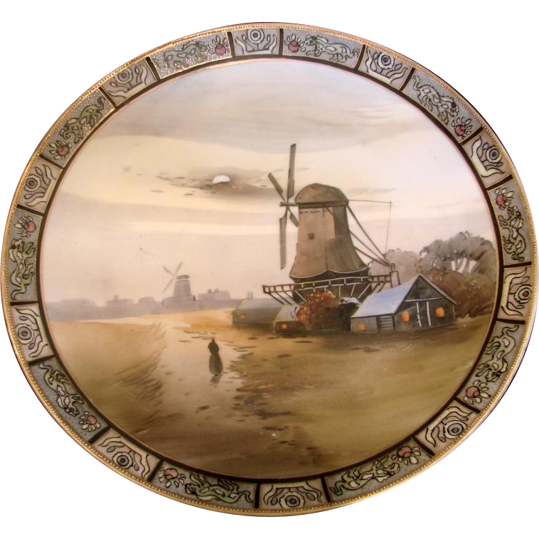 """Japanese Nippon Wall Hanging Plaque 10 ¼"""" Hand Painted Windmill Scene c 1911"""