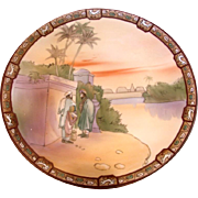 "Japanese Nippon Wall Hanging Plaque 10 ¼"" Hand Painted Egyptian Sunset Scene c 1911"