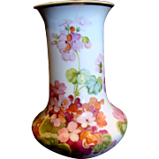 """Japanese Nippon Hand Painted Flowers 9"""" Vase Perfect to Use c 1911"""