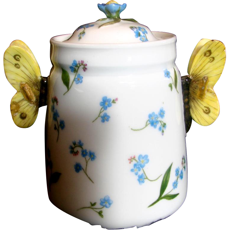 French Haviland Limoges Hand Painted Sugar Bowl Jar Butterfly Handles Flower Finial Blue Forget-me-nots c 1887