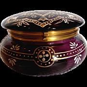 Bohemian Large Amethyst Purple Art Glass Box Enameled Decorations c 1890