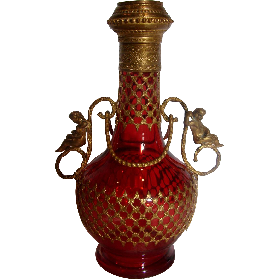 French Cranberry Red Art Glass Scent Perfume Bottle (Cologne) w Figural Metal Handles  c 1880