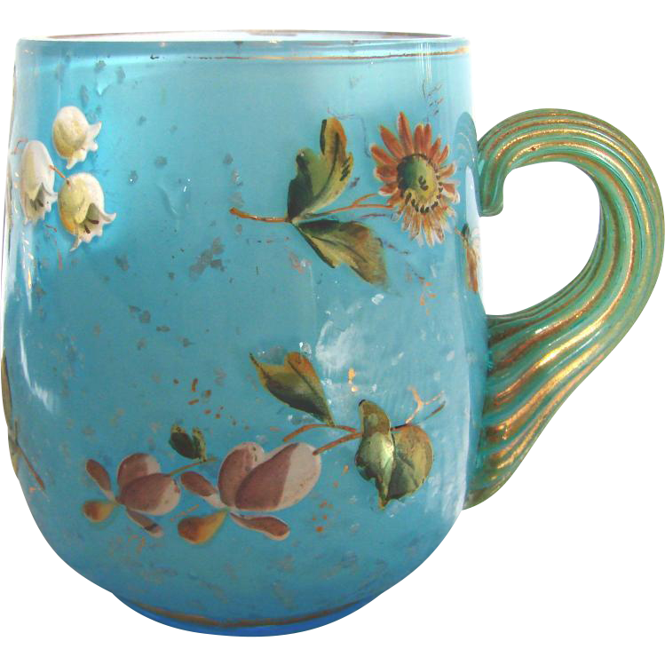 English Webb Cased Blue Art Glass Mug Cup w Mica & Enameled Flowers c 1870