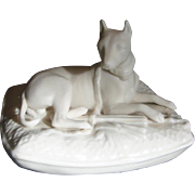 Irish Belleek Parian Dog Canine Figure Boxer on Cushion 6th Mark c 1965 - 1980