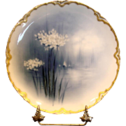 French Haviland Limoges Cobalt Feu de Four Plate Factory Artist Signed Ornithogale Lily Flower c 1883 - 1885