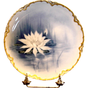 French Haviland Limoges Cobalt Feu de Four Plate Factory Artist Signed Nenuphar Water Lily Flower c 1883 - 1885