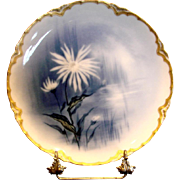 French Haviland Limoges Cobalt Feu de Four Plate Factory Artist Signed Doronique Yellow Perennial Flower c 1883 - 1885