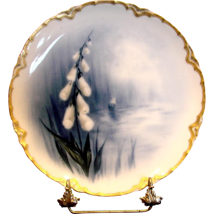 French Haviland Limoges Cobalt Feu de Four Plate Factory Artist Signed Digitale Digitalis Flower c 1883 - 1885