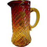 """English Amberina Art Glass Pitcher 9 3/8"""" Pale Amber to Deep Cranberry Ruby Red Spiral Lobes Gold Painted Leaves c 1885"""