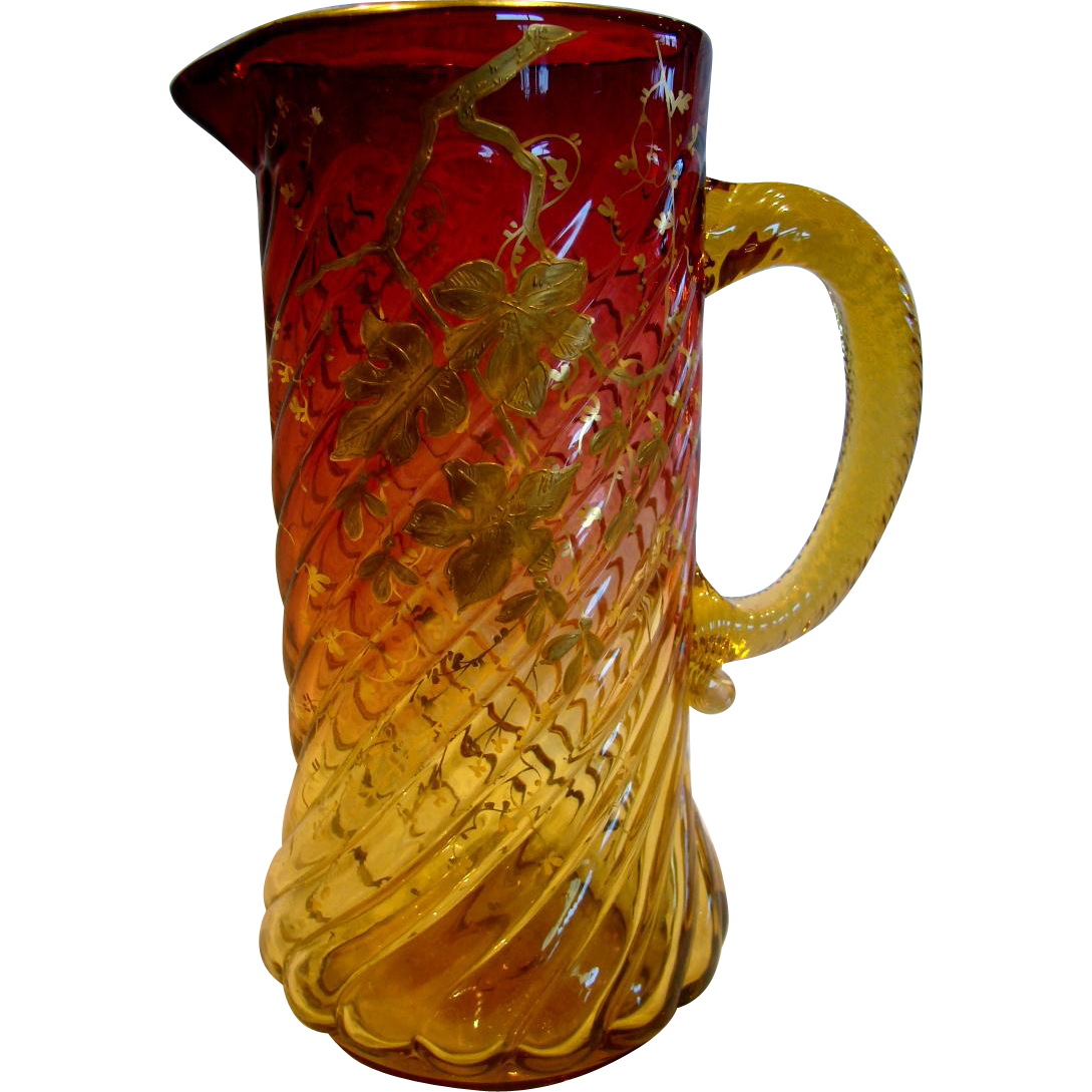 "English Amberina Art Glass Pitcher 9 3/8"" Pale Amber to Deep Cranberry Ruby Red Spiral Lobes Gold Painted Leaves c 1885"