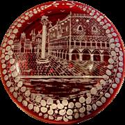 Bohemian Art Glass Ruby Red Box w White Enameled Street Scene on the Lid c 1900