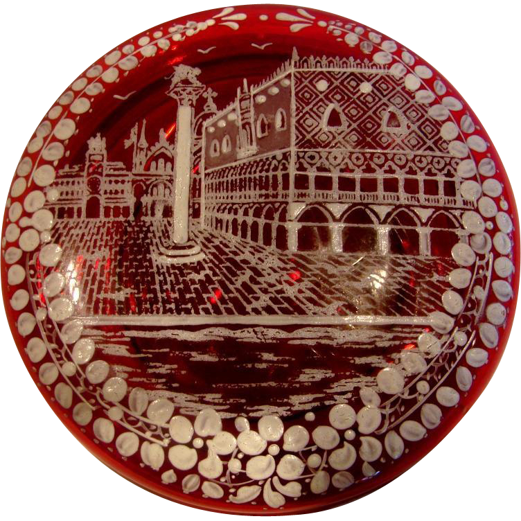 Bohemian Czech Art Glass Ruby Red Box w Mary Gregory White Enameled Street Scene on the Lid c 1885