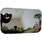 Scottish Beveled Wall Mirror Hand Painted Garden Scene w Birds c 1900
