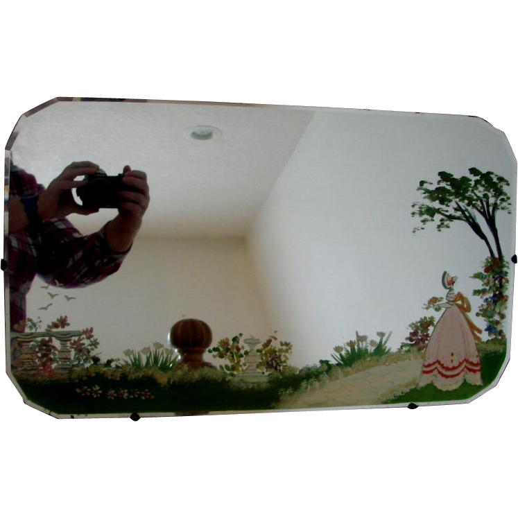Scottish Beveled Wall Mirror Hand Painted Garden Scene W